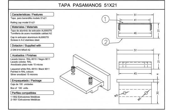Tapa barandilla 51x21