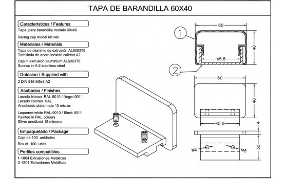 Tapa barandilla aluminio 40x60