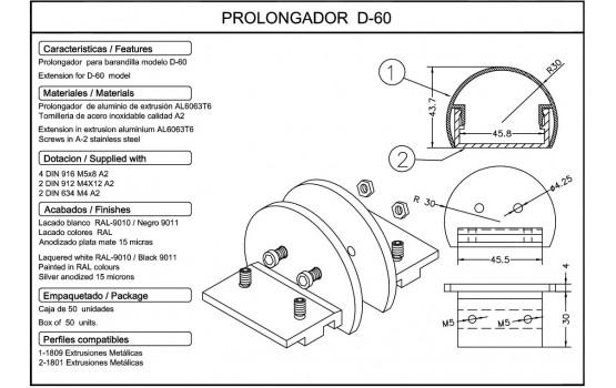Prolongador barandilla d60